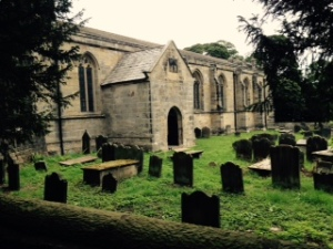 All Saints Harewood side view and graveyard