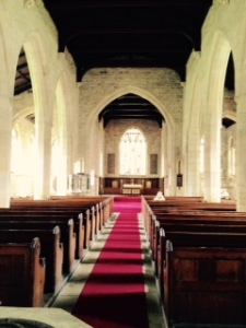 All Saints Harewood nave to sanctuary; the church was built in 1403 and is still consecrated but not regularly used.