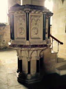 beautiful stone pulpit in All Saints Harewood on the Harewood estate