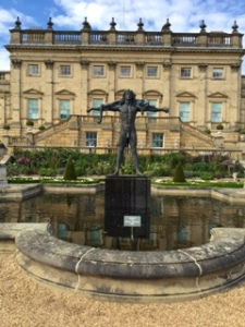 Orpheus statue in terraced garden at Harewood
