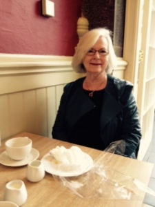 Ann enjoying a lunch fit for a Queen!