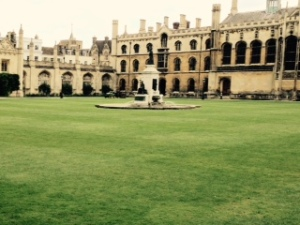 Central courtyard of Kings College Cambridge inside the street entrance