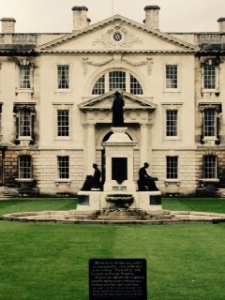 Statue in the centre of the central courtyard of Kings College Cambridge