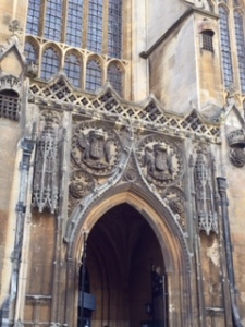 Detail of side door of Kings College Chapel by which casual visitors enter