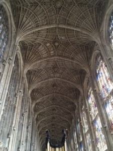 Close up of amazing fan vaulted ceiling in Kings College Chapel