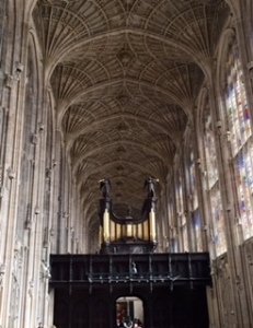 Close up of organ loft in Kings College Chapel