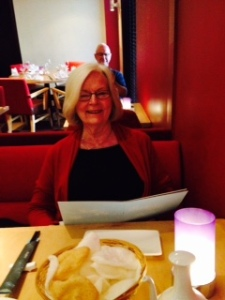 Ann high on Thai at the restaurant of the Crowne Plaza at Manchester Airport. That's me in the mirror taking the photo