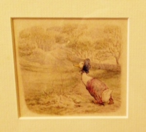 Beatrix Potter painting of Jemima Puddleduck (colours not right in photo)