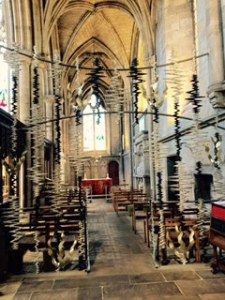 1970's redecoration of one of the side chapels at Ripon Cathedral to highlight the lightning like effect of the coming of the Holy Spirit.