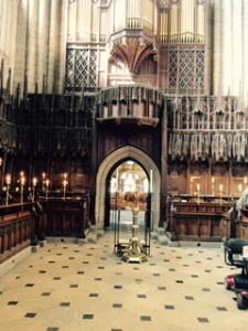 View from the quire back through the rood screen to the front of Ripon Cathedral