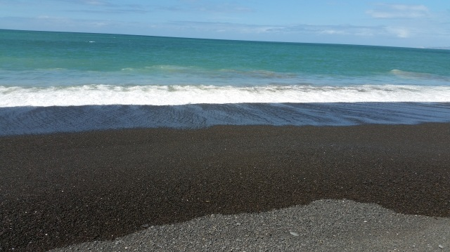 NZ Napier black stone surf beach